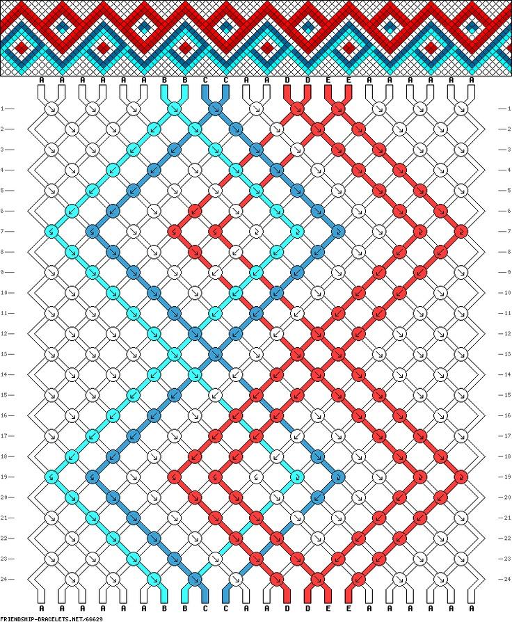 friendship bracelet diamond pattern instructions