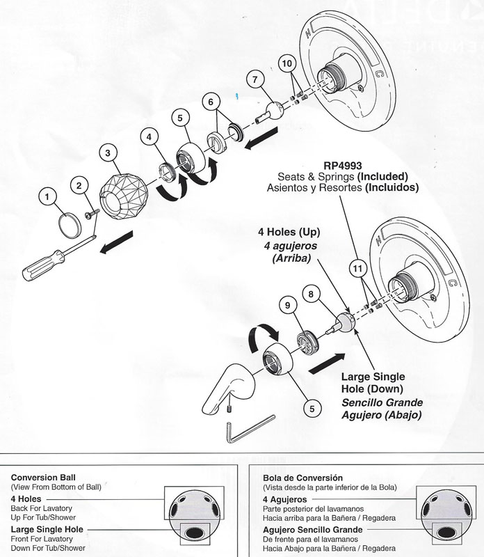 delta monitor shower faucet repair instructions