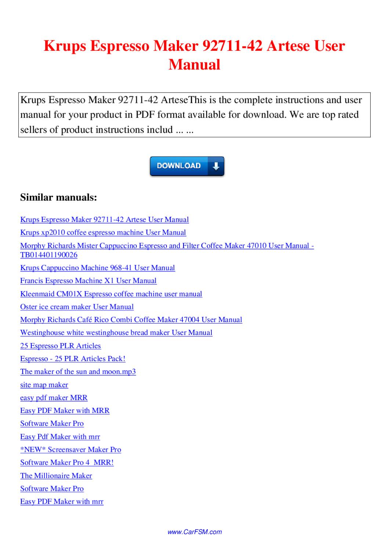 krups espresso machine instructions