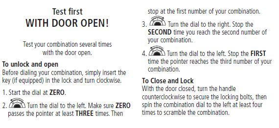 chubb safe opening instructions