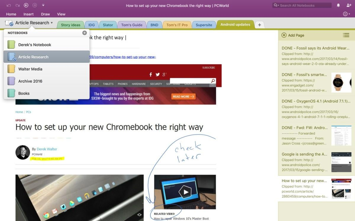 instructions for using onenote